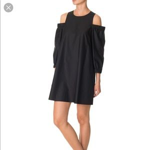 Tibi Satin Poplin Cold Shoulder Dress